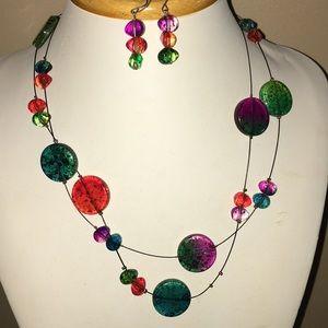 Chico's multi colored glass necklace set